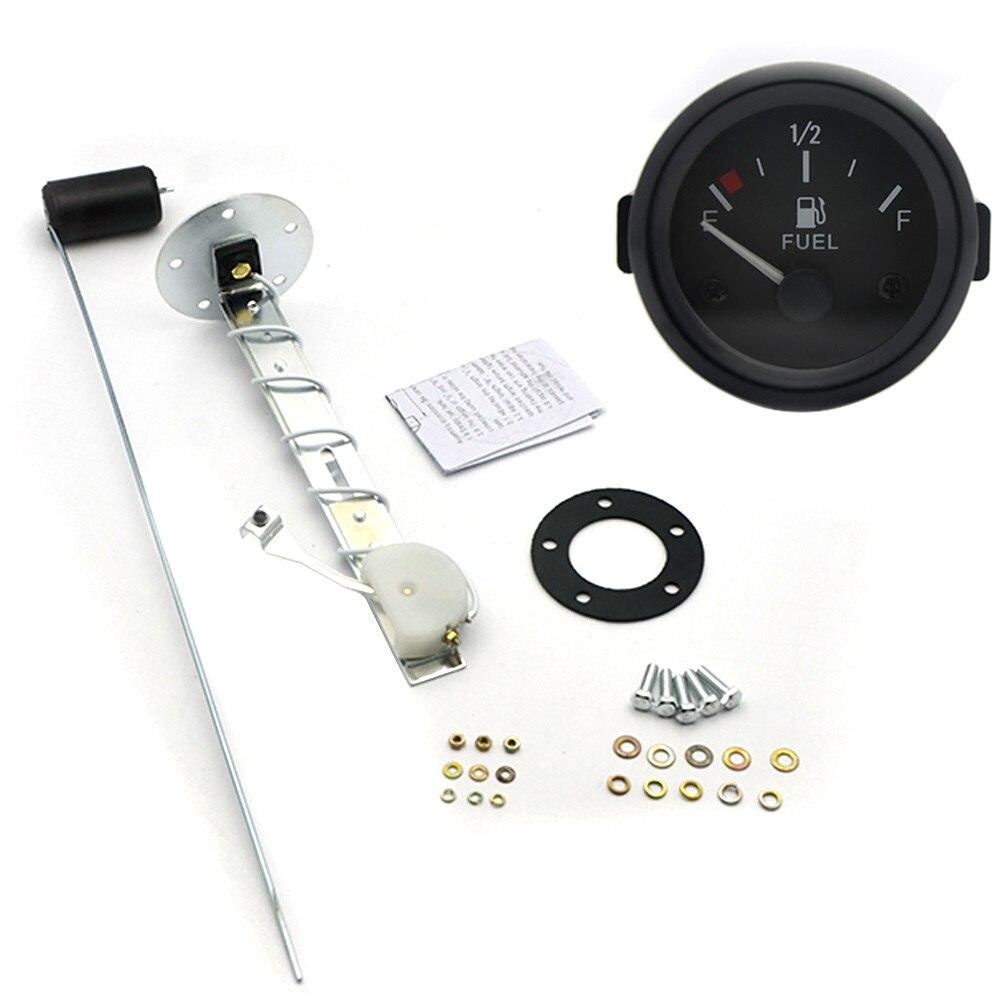 "Medidor de nivel de combustible A2 ""52mm, medidor de nivel de combustible para coche con Sensor de flotador de combustible, luz LED blanca, borde negro, medidores automotrices de 12V"