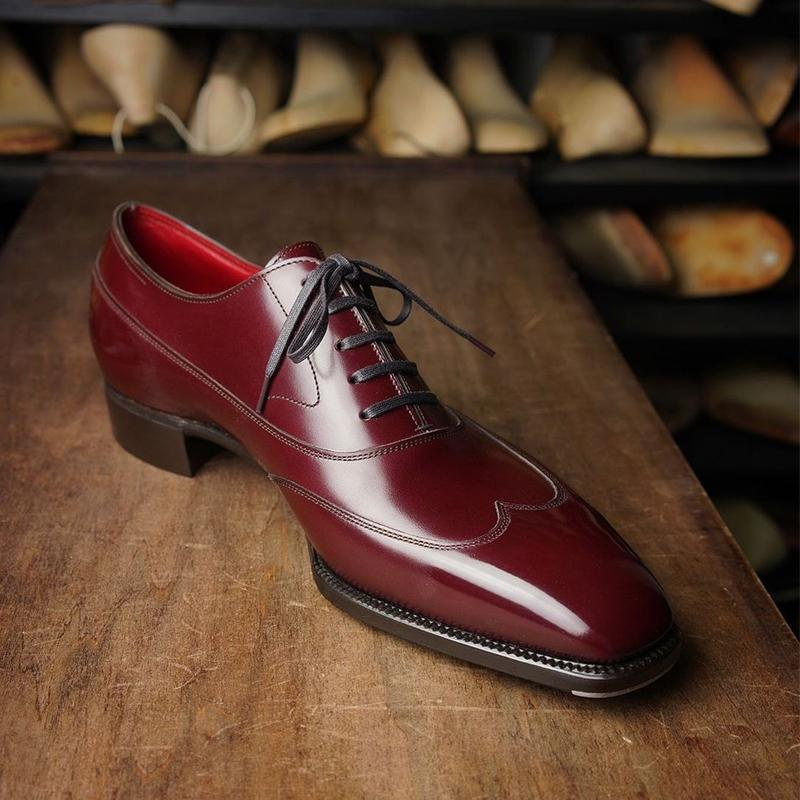 2021 New Men Shoes Handmade Red PU Square Head Polished Three-stage Lace-up Fashion Business Casual