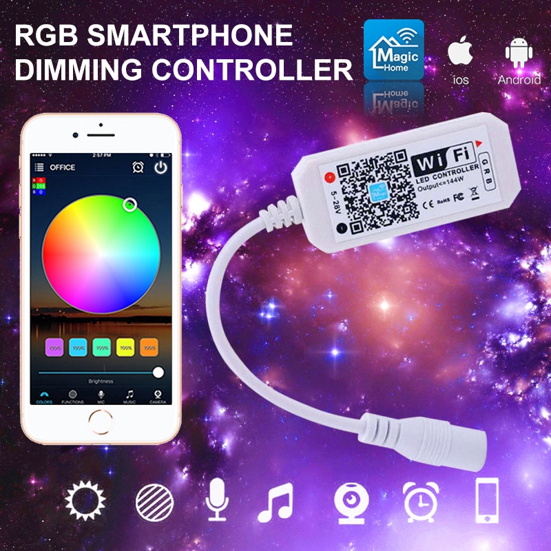 colornie wifi led controller music rgb led strip controller digital 2048 pixel spi led screen controller Wifi Smart Controller LED Strip RGB Color Changing Controller For 5050 3528 Voice Control Compatible with Alexa Google Home