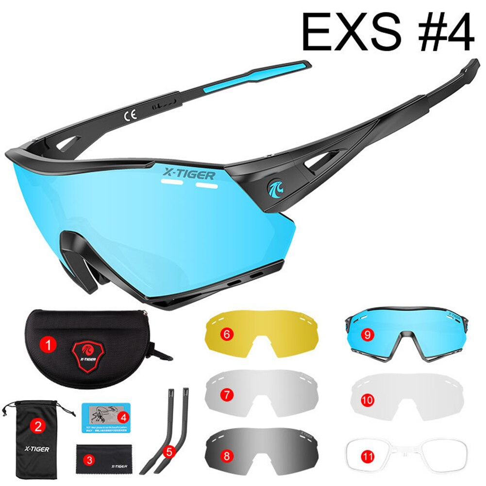 Polarized Sports Sunglasses Cycling Sun Glasses for Men Women with 5 Interchangeable Lenes for Running Baseball Golf Driving CSV enlarge