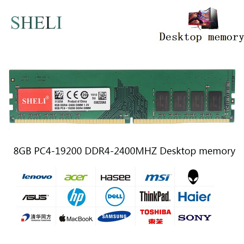 SHILI 8GB PC4-19200 DDR4 2400MHz 288pin 1,2 V UDIMM escritorio memoria de baja densidad
