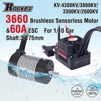 Rocket 3660 Waterproof Brushless Sensorless Motor 4300KV 3800KV 3300KV 2600KV w/60A ESC for 1/10 RC Car