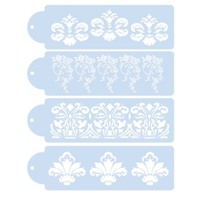 4pc Flower-shaped Cake Spray Pattern Stencils For Decor Painting Template Scrapbooking Album Embossing Templates Stencil Crafts