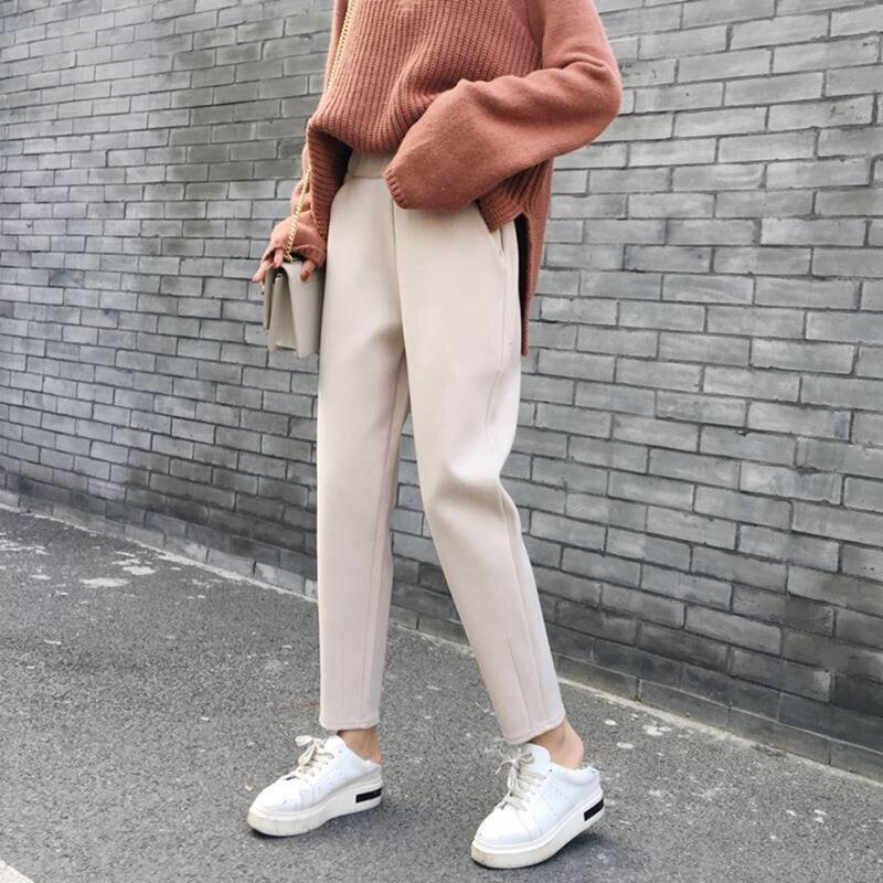 Женские черные осенне-зимние теплые брюки для бега, корейские брюки, офисные брюки цвета хаки с эластичной талией, женские брюки
