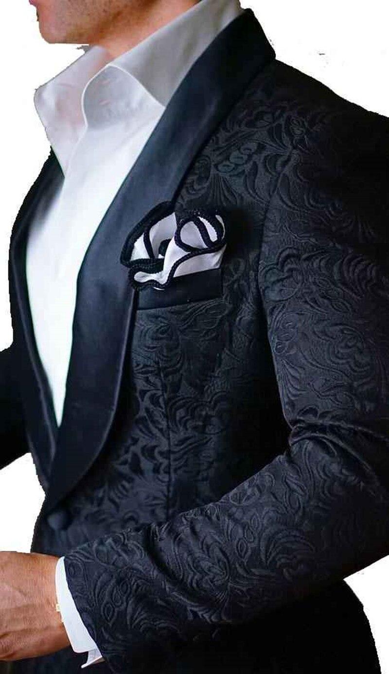 Handsome Embossing Groomsmen Shawl Lapel Groom Tuxedos  Men Suits Wedding/Prom/Dinner Best Blazer(Jacket+Pants+Tie) 004
