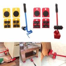 5 Stks/set Meubels Handling Tools 4 Mover Roller + 1 Wiel Vervoer Lifter Huishoudelijke Hand Mover Tool Set Voor Dropshipping