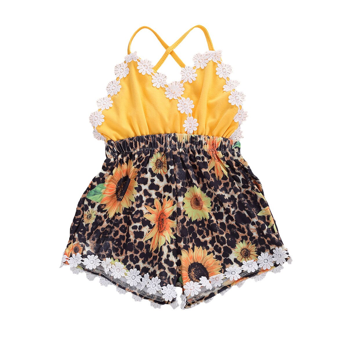 Nueva moda bebé niña leopardo Romper sin mangas cuello pico encaje mono con girasoles 0-24M