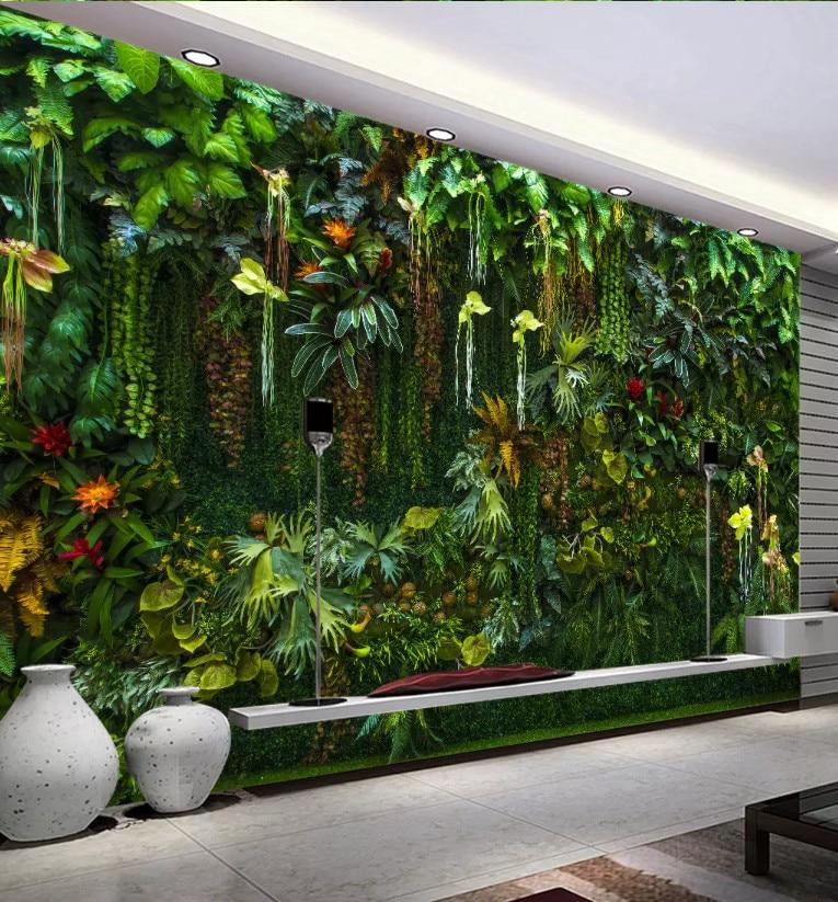 Fondo de pantalla personalizado Bacal, Mural Tropical, Bosque Tropical, flor, planta, hoja verde, pintura decorativa para pared, papel tapiz 3D, decoración para el hogar