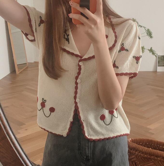 Korean Ins Vigorous Girl Cherry Fashionable Sweet Slimming Youthful-Looking Versatile Short Top Lapel Knitted Cardigan