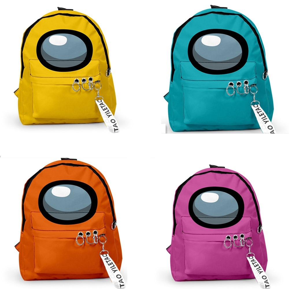 Kids Among Us Backpacks Small Bags Unisex Candy Colors 3D Oxford Waterproof Key Chain Accessories Kawaii Boys Girls School Bags