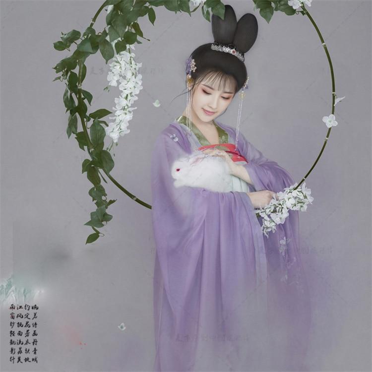 WYJN الضوء الأرجواني الجنية زي تانغ سلالة عالية الخصر Ruqun مرحلة الأداء معرض التصوير الكلاسيكية الرقص Hanfu