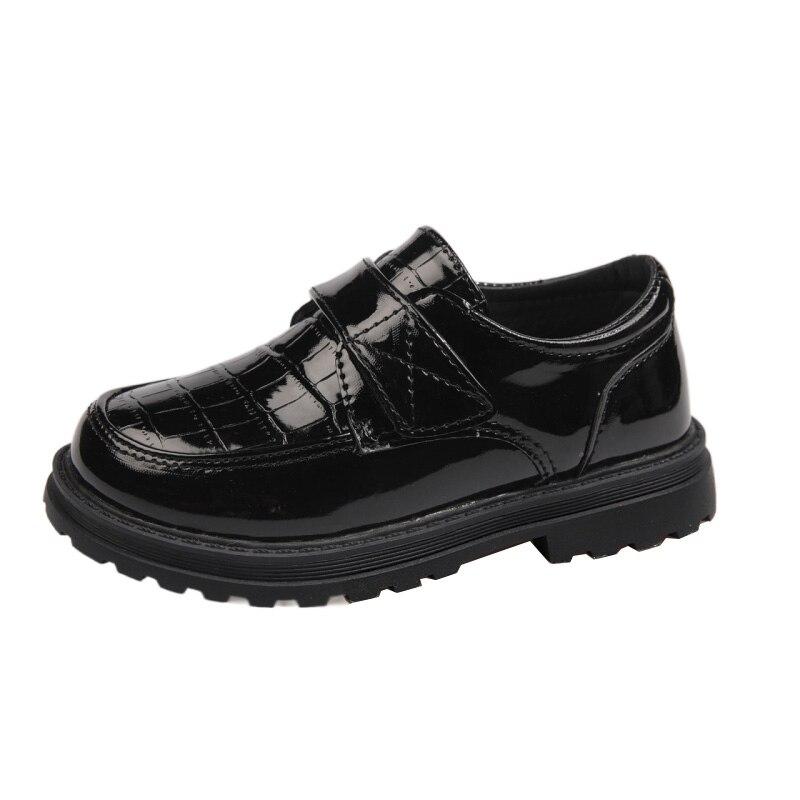 moda sapatos de couro patente criancas sapatos de couro para meninos 2021 preto branco
