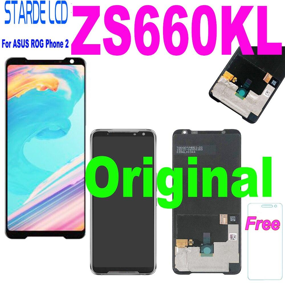 الأصلي 6.59 ل ASUS ROG الهاتف 2 Phone2 phone1064zs660kl AMOLED LCD شاشة عرض لوحة اللمس محول الأرقام الجمعية استبدال