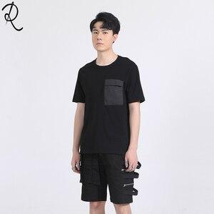 Dark British Summer Street personality pocket stitching slim round-necked short-sleeved t-shirt trend