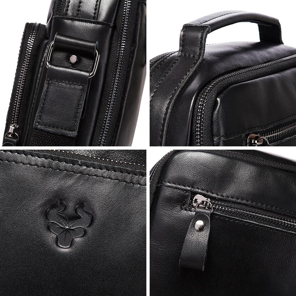 KAVIS Engraving Genuine Leather Casual Shoulder Bag Men Crossbody Messenger Bags Top Quality Black Men's Handbag Bolsos for Male