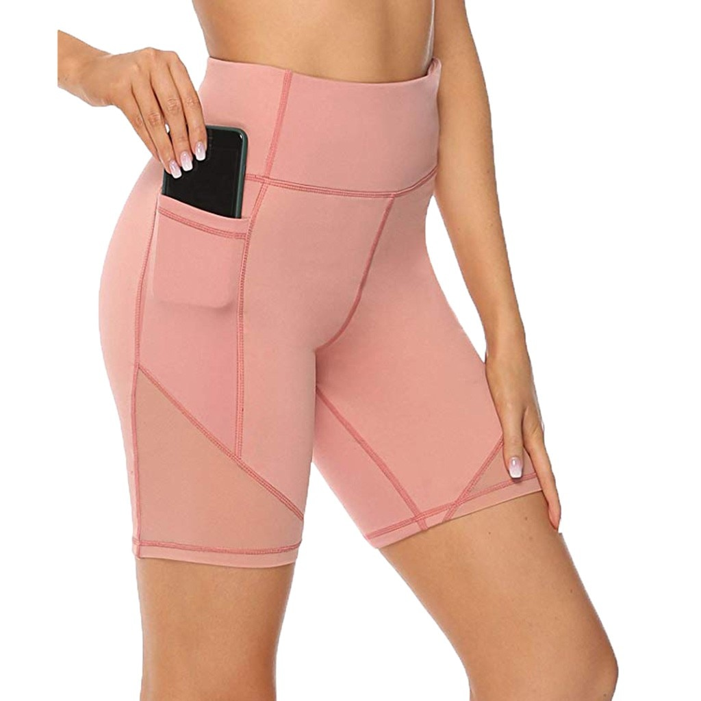 Las mujeres de Fitness Sexy Yoga pantalones cortos bolsillo mujeres de cintura alta de estiramiento gimnasio pantalones cortos de deporte con Legging corriendo medias