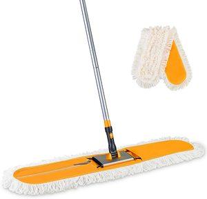 Eyliden Commercial Industrial Cotton Mop Dust Floor Mop 59 Inch Telescopic Handle with Total 2 Microfiber Polyester Mop Pads