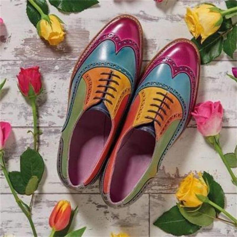 Zapatos De vestir hechos a mano para Hombre, calzado Multicolor De cuero...