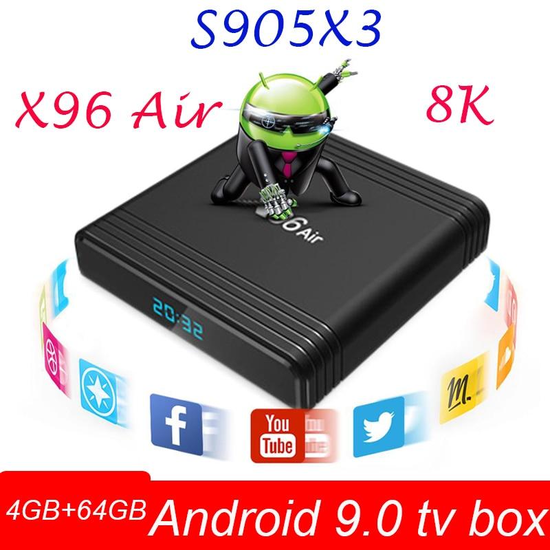 X96 aire Amlogic S905X3 Dispositivo de tv inteligente 4GB RAM 64GB ROM USB3.0 Bluetooth WiFi 2,4G/5G 8k android 9,0 España Brasil Android tv box