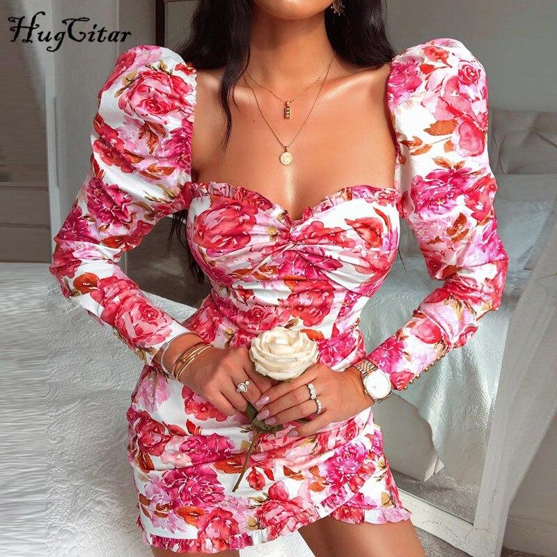 Hugcitar 2019 manga comprida floral impressão babados babados mini vestido outono inverno feminino festa bonito outfits streetwear