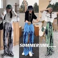 qweek green tie dye wide leg pants women korean fashion high waist blue straight trousers for female harajuku strreetwear black