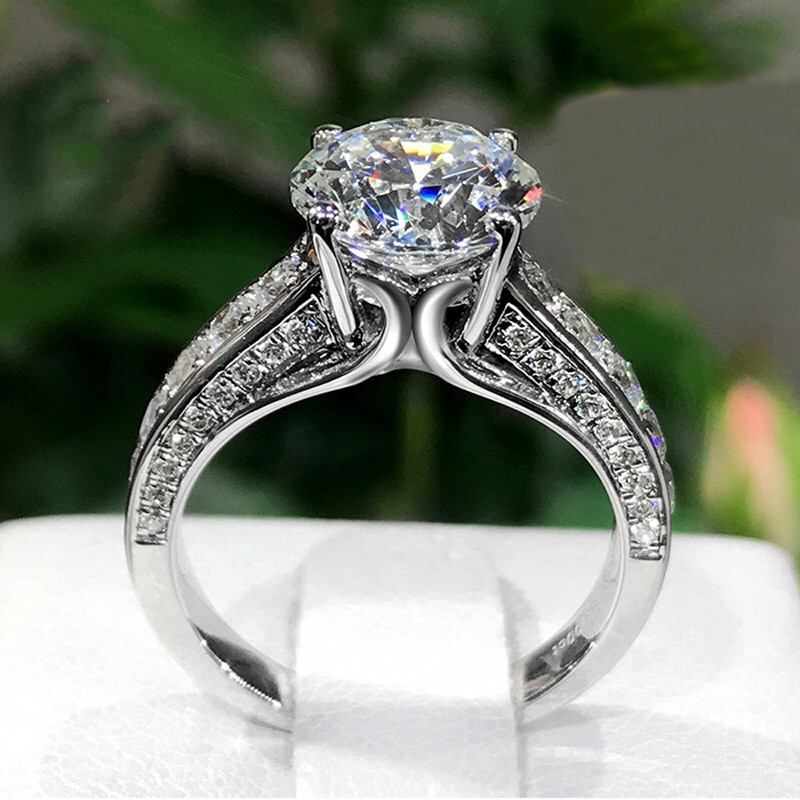 925 Sterling Silver Luxury Rings Inlay Dazzling Moissanite Fine Jewelry For Women Wedding Engagement Best Statement Gifts