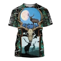 fashion 3d printing camouflage animal elk pattern malefemale t shirt short sleeved summer street personality loose oversize top