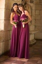 Bruidsmeisje Jurken Party Prom Gown New Fashion Sexy V-hals Plooi Formele Paars Chiffon Casual Lange Elegante Bruidsmeisje Jurken