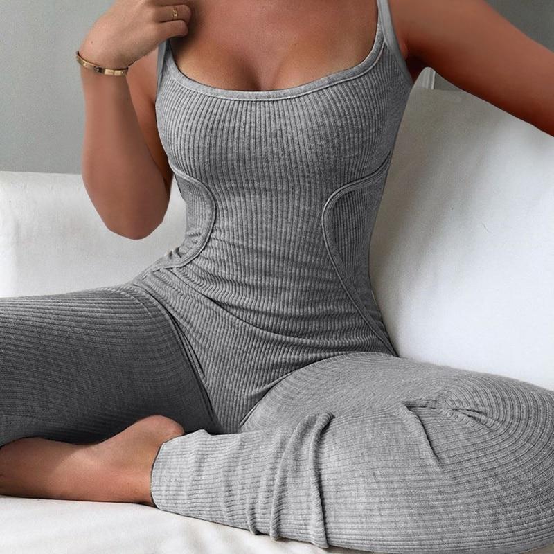 AliExpress - Spring Sexy Women Lowcut Plain Spaghetti Strap Ribbed Pajamas Jumpsuit Casual Skinny Sling Sleeveless Home Sleepwear