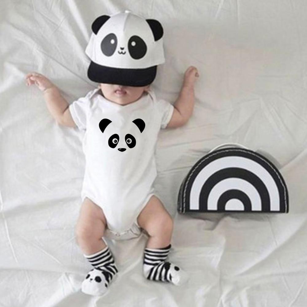 Panda babymacacão onesie meninos meninas recém-nascidos crianças bonito branco verão manga curta bodysuit moda roupas casuais