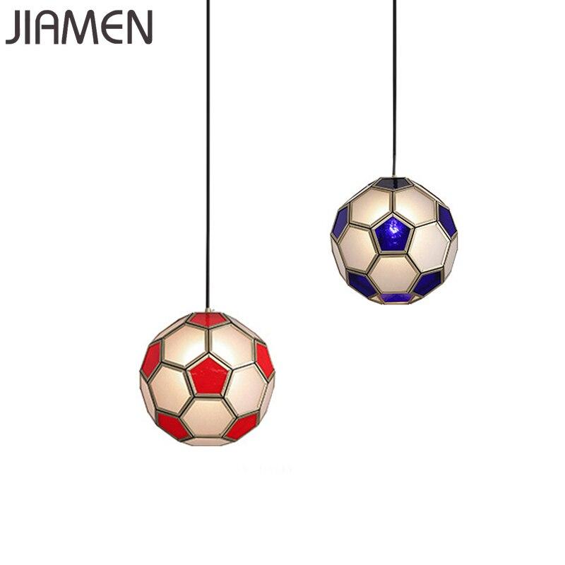 Jimen luces de pendiente de balón de fútbol de cristal moderno lámpara colgante Led para dormitorio restaurante decoración nórdica lámpara creativa colgante
