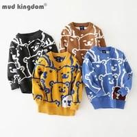 mudkingdom crewneck sweater pullover fun animal pattern boys girls doodle bear thicken autumn and winter children clothing
