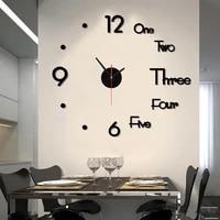 3d diy large wall clock modern design wall sticker clock silent home decor living room acrylic mirror nordic wall clock