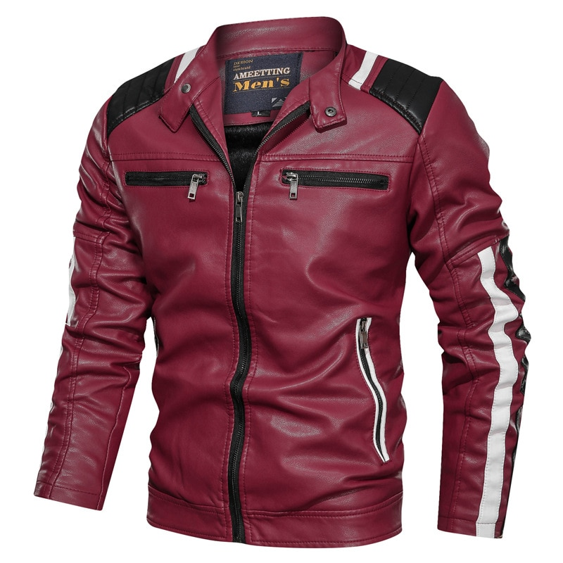Men's New Spring And Autumn Casual Color Matching Wash Leather Jacket Youth Stand Collar Zipper Decoration Faux Leather Jacket enlarge