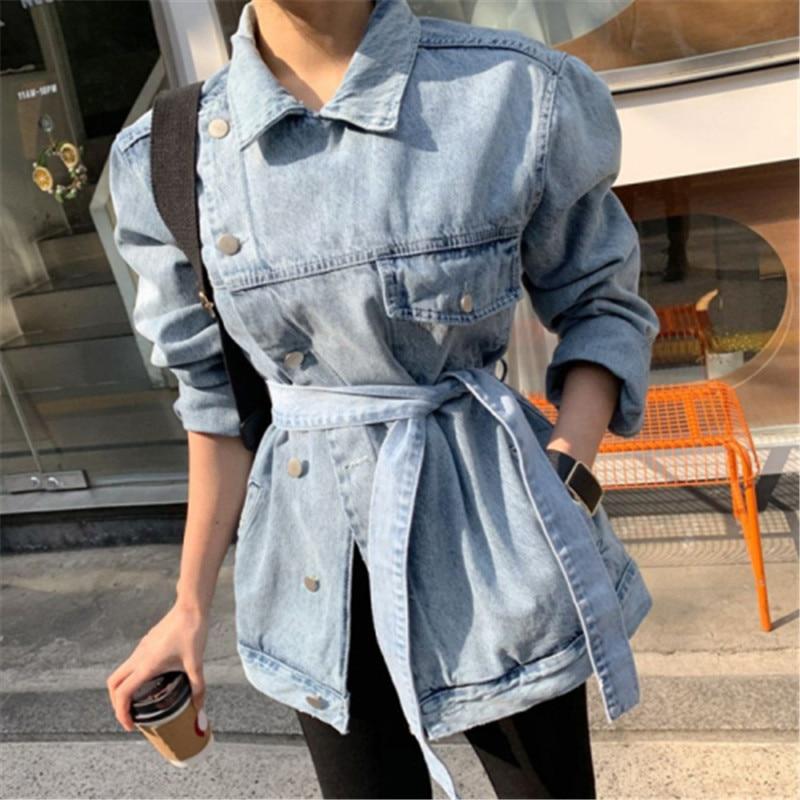 asymmetrical women denim coats lace up long sleeve female jeans coat spring autumn oversize casual jackets button P712