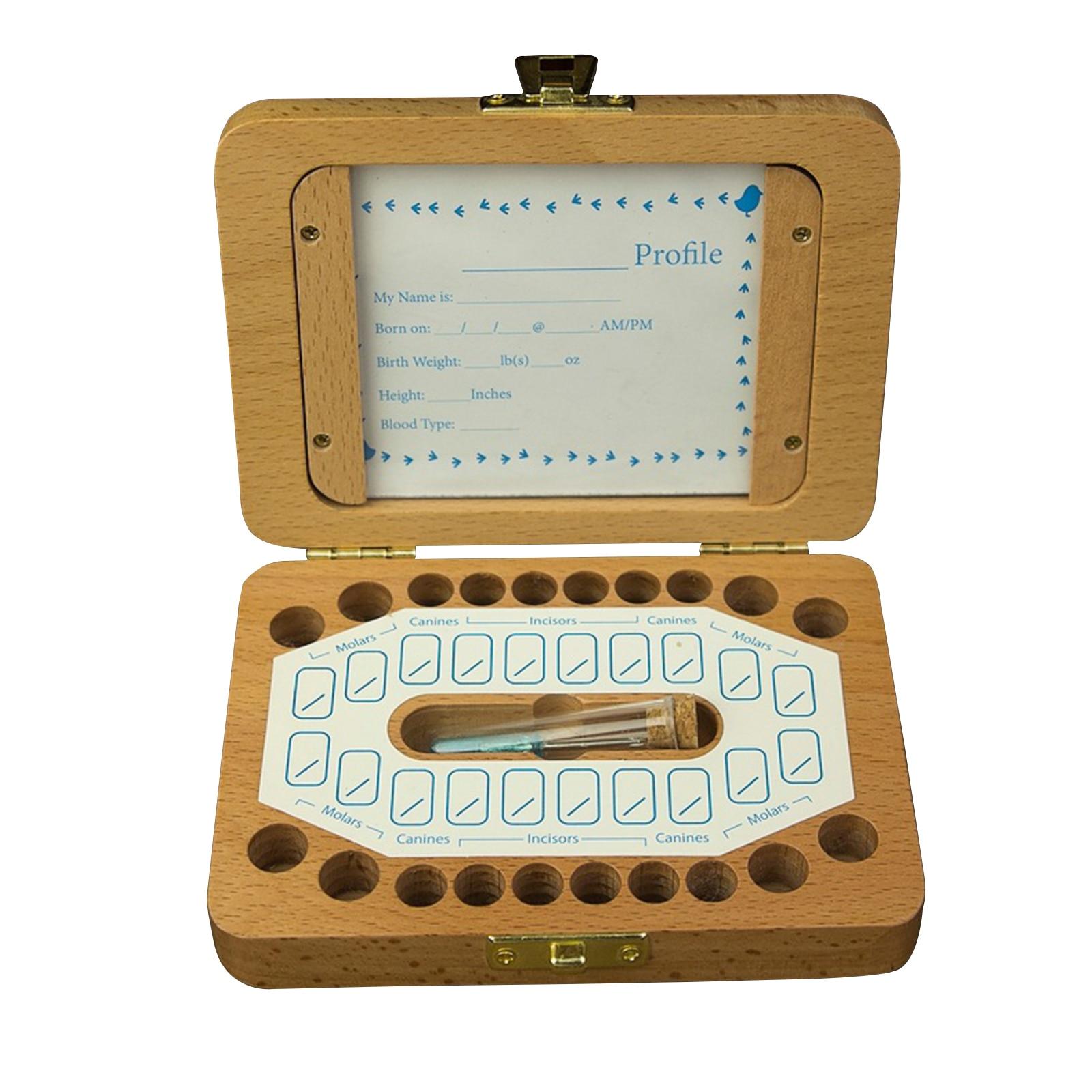 Lanugo de madeira decídua caixa de dentes bebê recém-nascidos coleção crescimento memorial caixa de dente de bebê estilo simples caixa