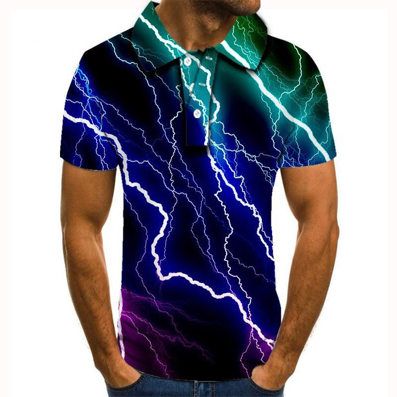 Polo informal de manga corta para hombre de Camiseta con estampado 3d...