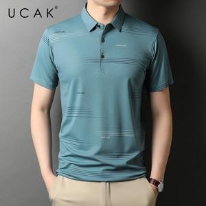 UCAK Brand Classic Turn-down Collar Cotton T Shirt Men Clothes Summer New Fashion Tops Streetwear Casual Soft Tshirt Homme U5478