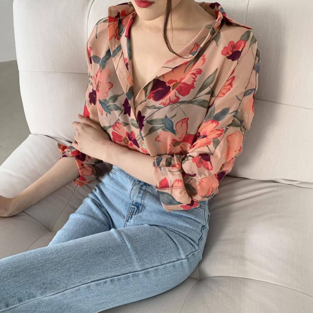 random floral print blouses with choker Fashion Woman Blouse Floral Tops And Blouses Spring Long Sleeve Shirts Print Chiffon Women Blouses Blusas