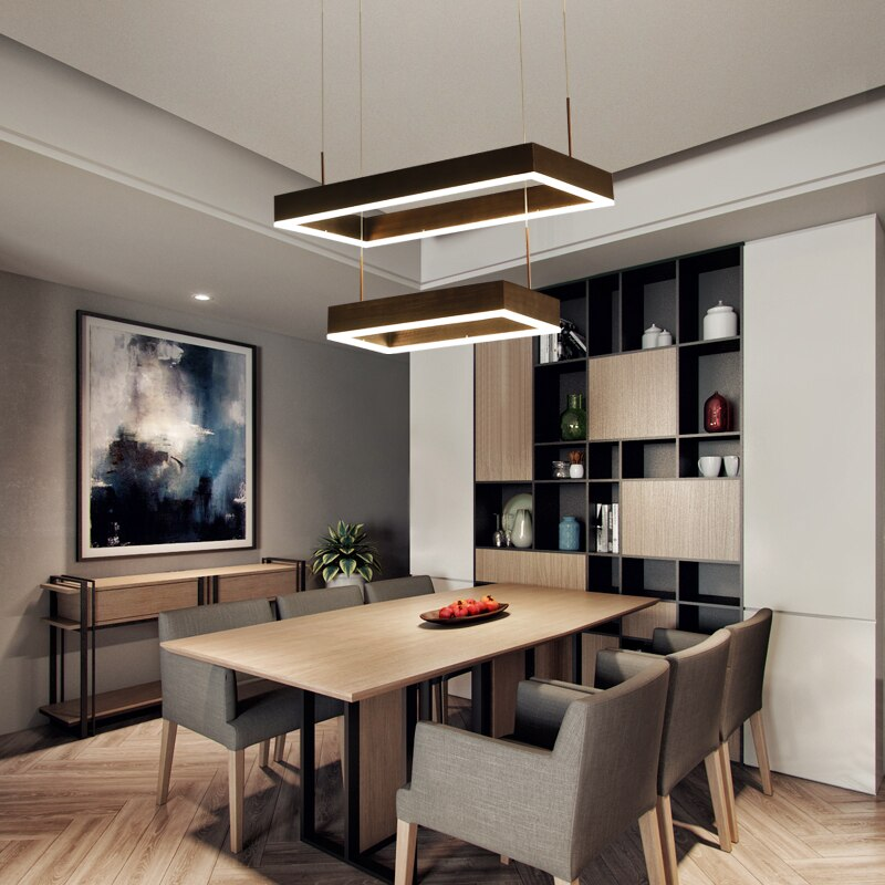بساطتها الحديثة قلادة أضواء LED lustres قلادة مصباح البني مستطيلة تعليق الإنارة لغرفة المعيشة الطعام