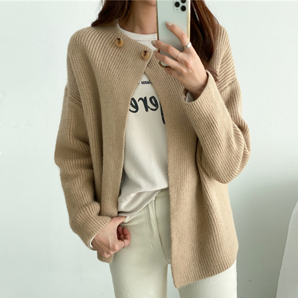 Unikalny sweter z dzianiny japoński koreańskie Casual kobiety wiosna jesienny Cardigan Mujer luźne guziki solidny sweter płaszcz 2021 가디건 여성