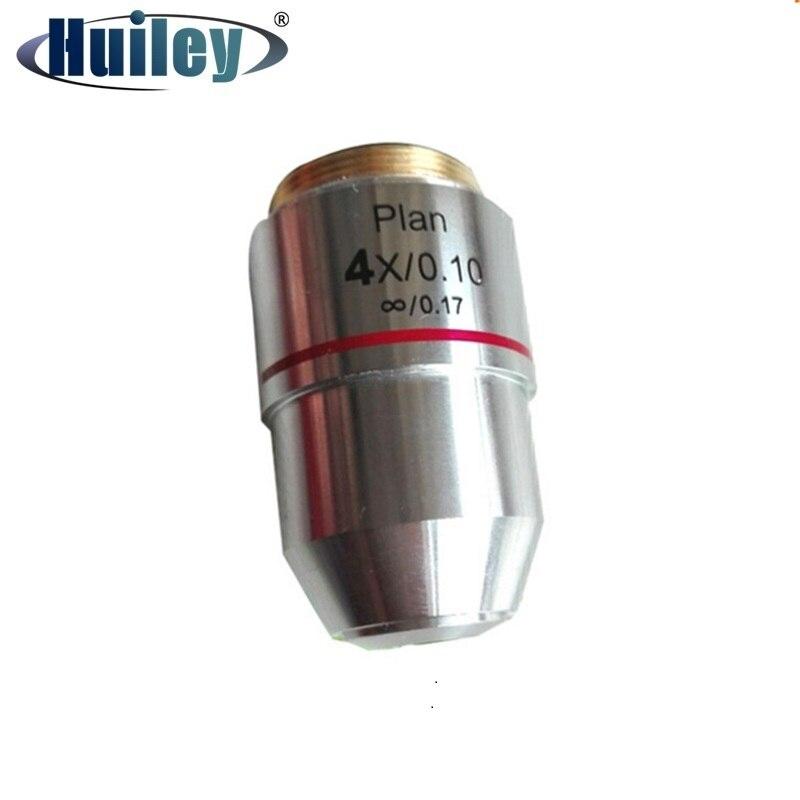 Objetivo acromático 4x L = 195 Infinity Plan para laboratorio educativo profesional microscopio biológico DIN 45 mm montaje RMS