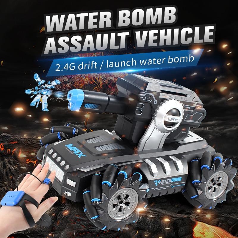 Novo relógio elétrico indução modo duplo rc carro 4wd 118 rc deriva um-chave lançamento bomba de água assalto veículo crianças brinquedos
