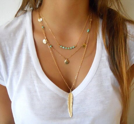 Hot Fashion Gold Color Multilayer Coin Tassels Lariat Bar Necklaces Beads Choker Feather Pendants Ne