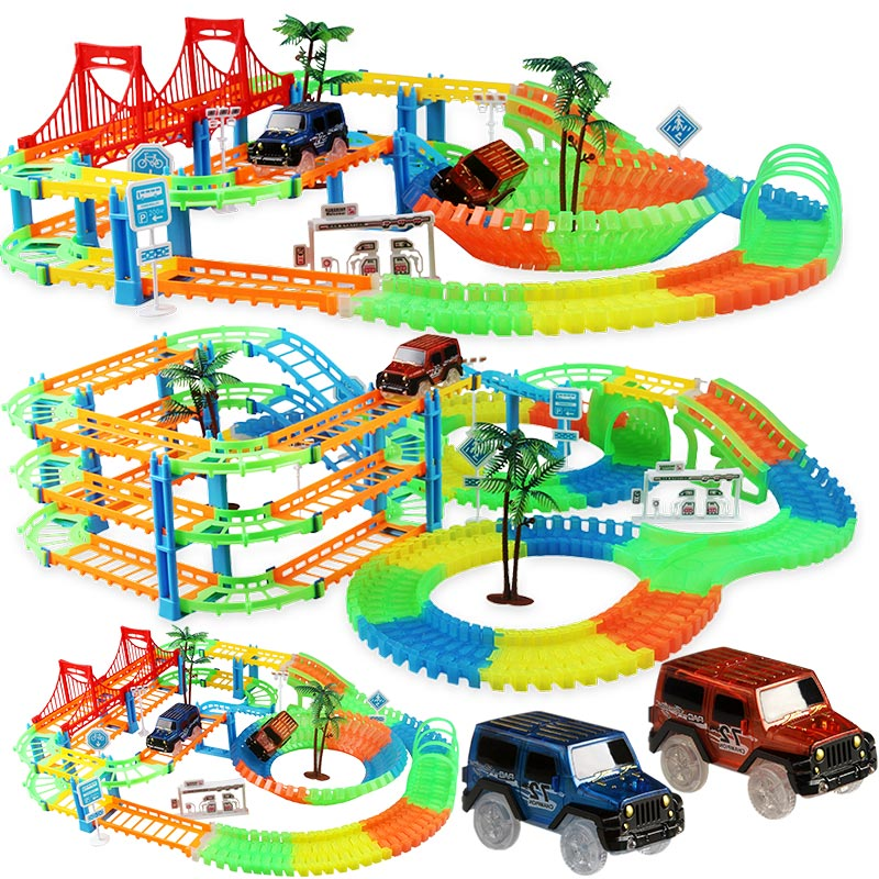 مسار سباق السكك الحديدية للأطفال ، لعبة تعليمية ، DIY ، مرن ، مضمار سباق إلكتروني ، ضوء فلاش ، ألعاب سيارات للأطفال