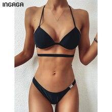 INGAGA Push Up Bikinis Swimsuits 2020 Black Swimwear Women String Halter Bikini Set Cross Bandage Bathing Suits Beach Swim Suit