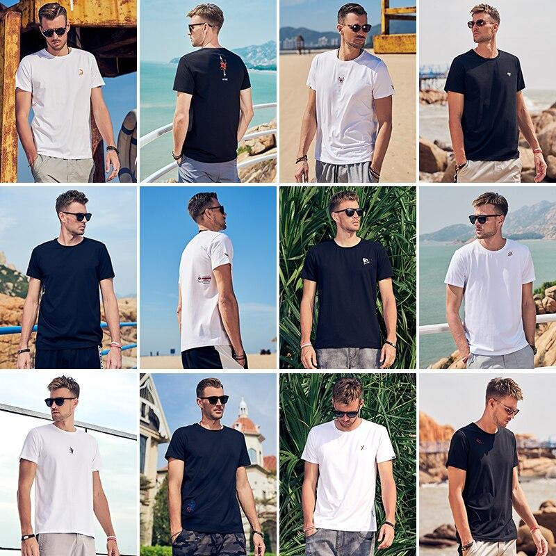 مبيعات كبيرة Enjeolon ماركة الرجال الصيف قصيرة الأكمام تي شيرت عادية س الرقبة طباعة قمصان أنيقة الذكور الأساسية تيز حجم كبير 3XL