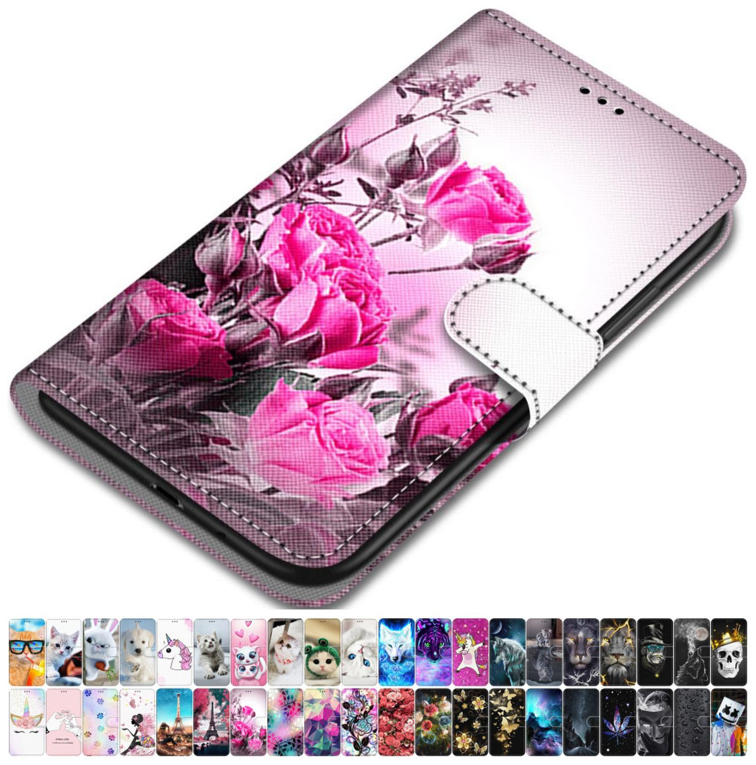 For Case Huawei Y3 2017 Y5 2018 2019 Y5 II 2 PU Leather Phone Cover Animal Floral Tower Lovely Girls