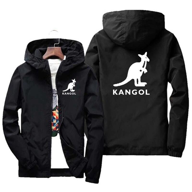Мужская куртка KANGOL, весна/осень 2021, мужская приталенная куртка с принтом, повседневная бейсбольная куртка-бомбер на молнии с капюшоном, мужс...