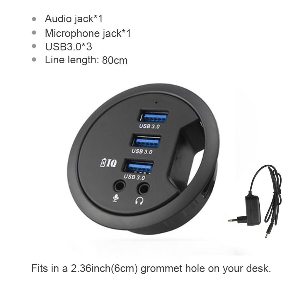 محول USB للكمبيوتر المكتبي ، محور USB 3.0 مع 3 منافذ ، محول Mircophone للكمبيوتر المكتبي ، مقسم USB 3.0 متعدد المنافذ